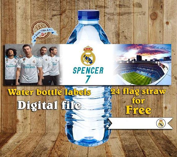 Personalized water bottles labels Real Madrid  Flags for your