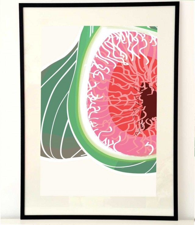 Beautiful poster Fig IV by Anna Handell, Montage! #nordicdesigncollective #fruit #fruits #berry #berries #nature #plant #eat #food #snack #snacks #fig #figs #pink #green #seeds #seed #frame #annahandell #annahandellmontage #figtree #figfruit #eat #sweet
