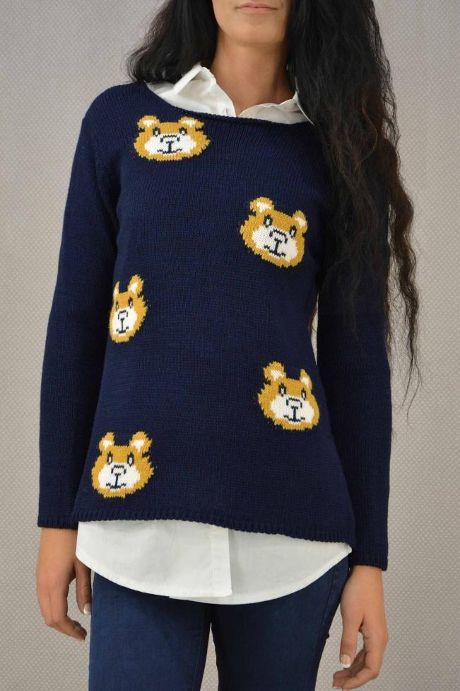 Γυναικείο πουλόβερ με σχέδιο PLEK-2725-bl Πλεκτά - Πλεκτά και ζακέτες