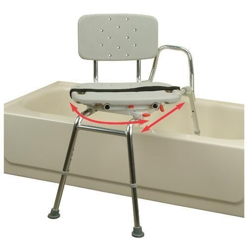 Shower Transfer Bench with Swivel Seat #DisabledBathroomAccessories >> See our handicapped accessories guides at http://www.disabledbathrooms.org/handicapped-bathroom.html