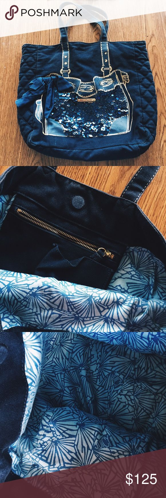Juicy Couture Navy Purse Tote Good condition! A couple tiny stains in the corner of the inside of the bag. Juicy Couture Bags Totes