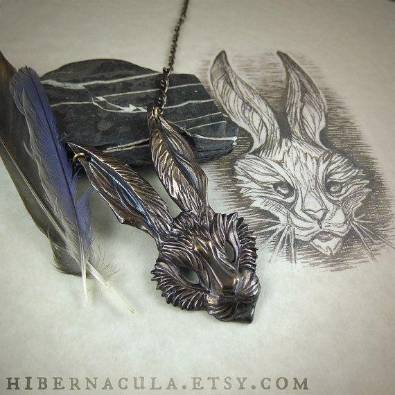 The Hare  Bronze Pendant by Hibernacula on Etsy