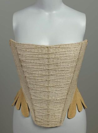 Stays. Fully-boned. White moiré silk rep front, beige linen back; ecru linen lining. White silk ribbon over seams. Back lacing. Decorative front lacing, American, 1740-60