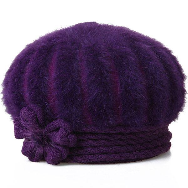 High-quality Women Winter Warm Knitted Pumpkin Hat Casual Plus Plush High Elastic Beret Caps - NewChic