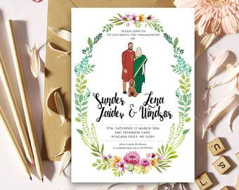 Items similar to Custom Illustrated Couple Portrait Wedding Invitation Suite - Printable DIY -  Digital Files only on Etsy