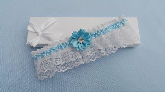 White something blue wedding garter bridal by BeuBeuDesign on Etsy