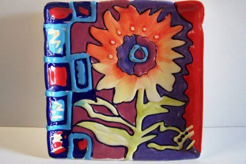 Simon Bull Sunflower Square Plate by Blue Sky. $24.95. ceramic handpainted plate designed by & 35 best Home \u0026 Kitchen - Plates images on Pinterest | Dishes ...