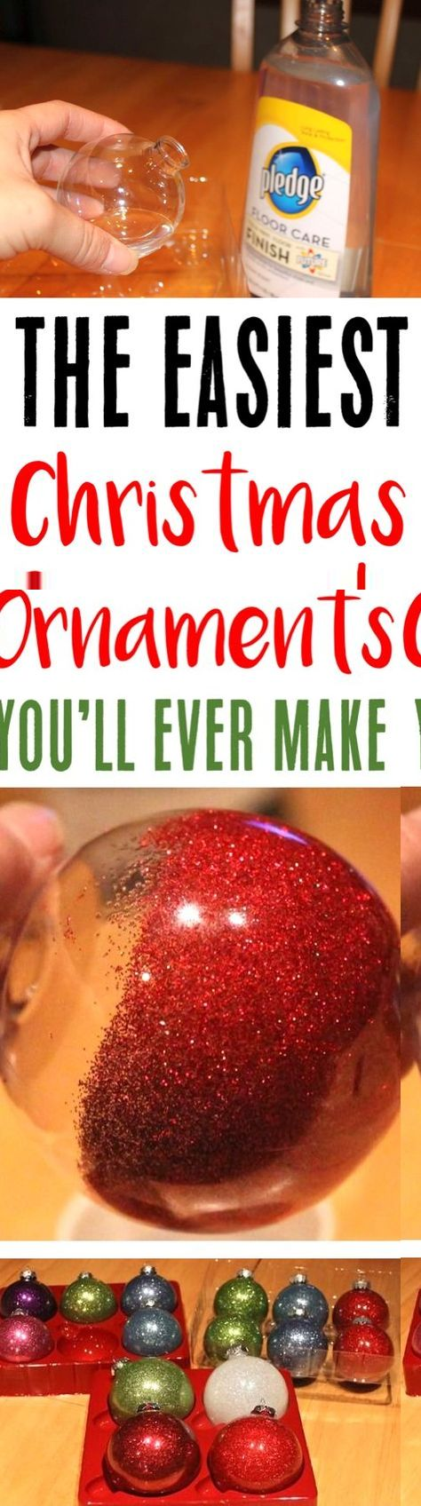 Christmas Ornaments Homemade DIY Ornament Craft! These EASY ornaments are so simple to make, and be customized with your favorite color of glitter! You'll just need 3 things to make yours!