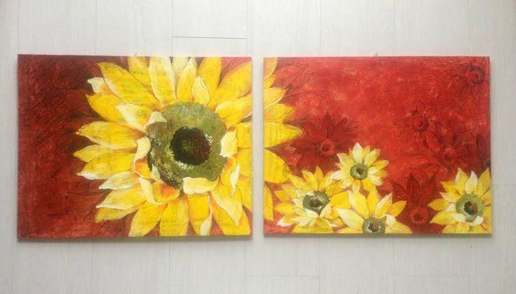 Dipinto moderno con grande fiore/ Girasole dipinto su legno/ Coppia di quadri con girasoli gialli/ Grandi quadri rossi  con fiori gialli di PaintingsByCipeciop su Etsy