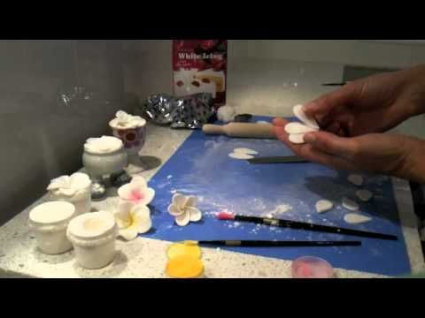 How to make a fondant Frangipani (I've never heard that flower name, but they are pretty!)