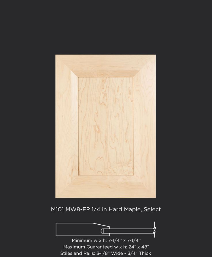 Modern maple cabinet door with wide MW8 frame and flat panel by TaylorCraft Cabinet Door Company