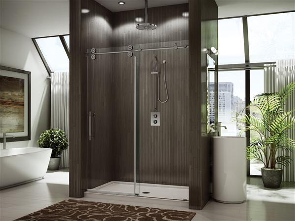 Custom, modern heavy glass sliding shower door @ Top Shelf