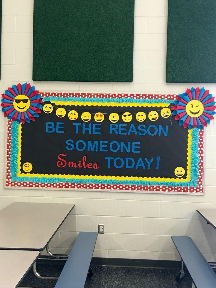 Classroom Notice Board Decoration Ideas ~ Emoji encouraging smile bulletin board classroom diy