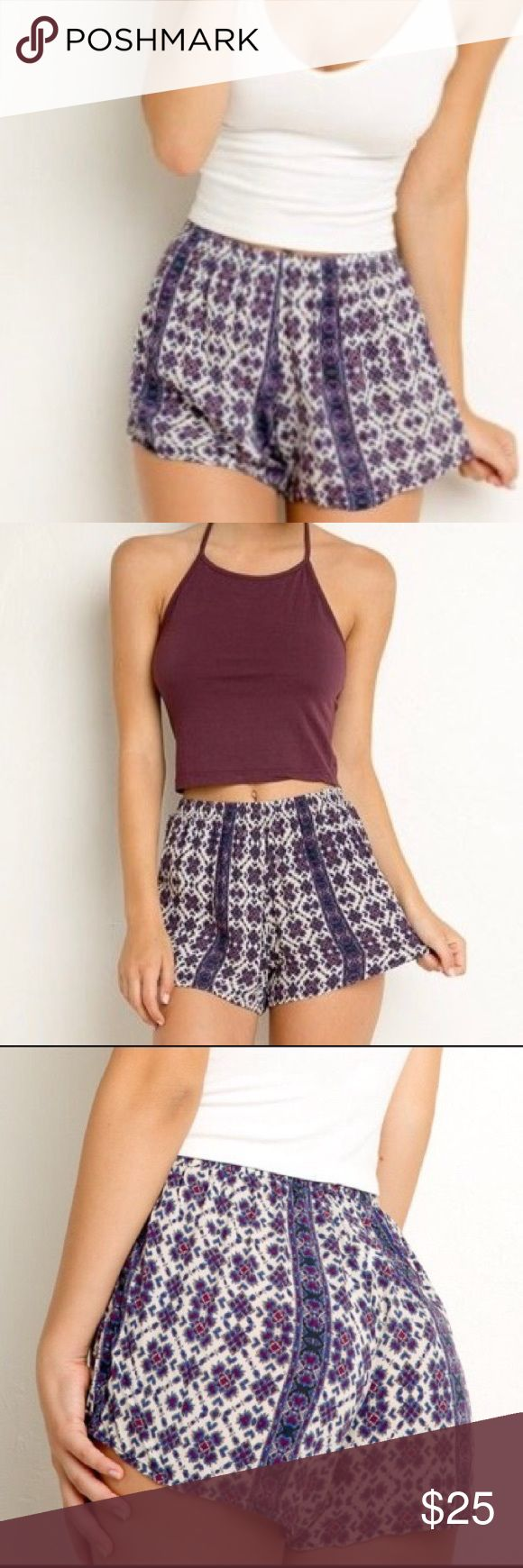 Brandy Melville Purple Aztec Remi Shorts Worn twice. In overall great condition! Just slightly wrinkly. ONE SIZE. Brandy Melville Shorts