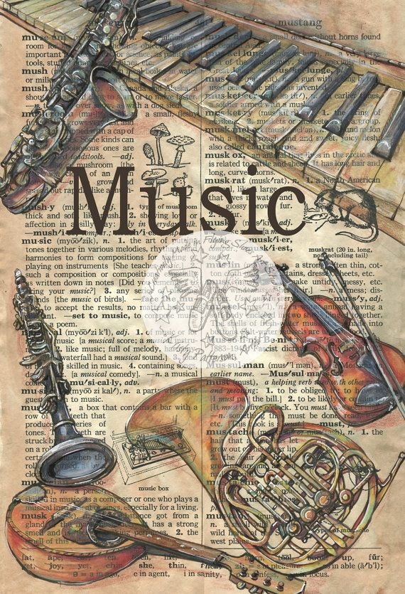 Print of Original, Mixed Media Drawing on Distressed, Dictionary Page  This print comes in two sizes - small - 6 x 9 or large 12 x 18  This drawing of old, musical instruments is drawn in sepia ink and created with ink, watercolor, pastel and colored pencils on a distressed parchment that includes the definition music. Unlike similar prints available from other artists, this image was drawn directly on a page from a repurposed, rescued book. This is a digital print of the original artwork…
