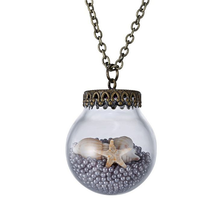 Starfish in a glass jar necklace