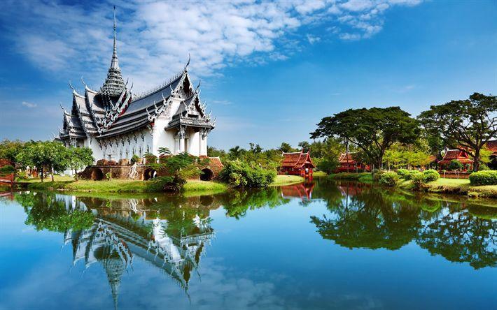 Lataa kuva Kiina, kesällä, temppeli, river, Aasiassa