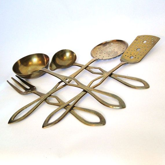 Vintage Brass Serving Utensils Cooks Dream Collection Aged