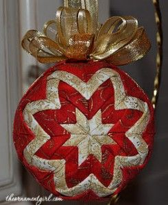red and gold quilted ball ornament