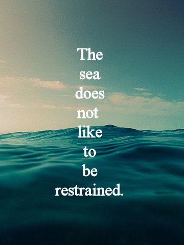 """The sea does not like to be restrained, neither does it's king!"""