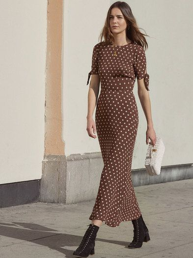 66fe6073f9 Compliments - a common side effect of wearing Reformation. This is an ankle  length dress with sleeve ties and a center back keyhole.