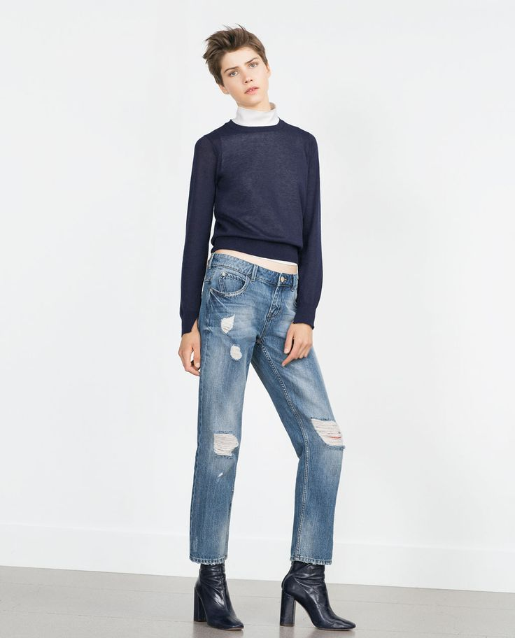 RIPPED BOYFRIEND JEANS-Relaxed Fit-Jeans-WOMAN | ZARA United States