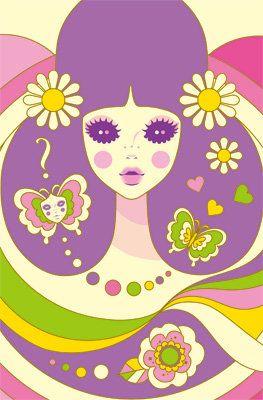 Mod •~• green, pink, purple, and yellow lady illustration
