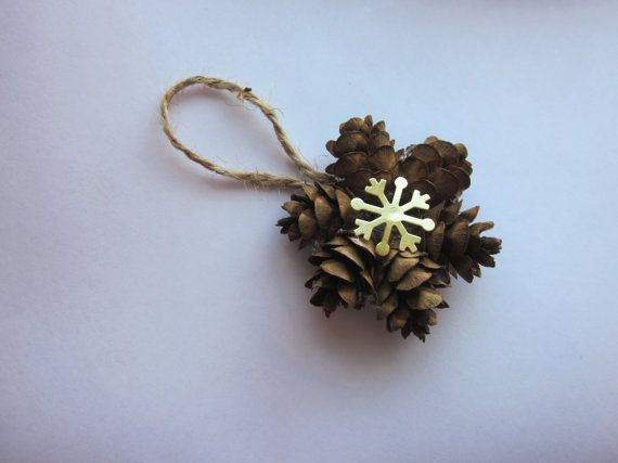 Mini Pine Cone Wreath Ornaments, Gift Topper, Christmas Tree Hanging, Snowflake Decoration, Holiday Ornament, Natural Decor, Rustic Cones