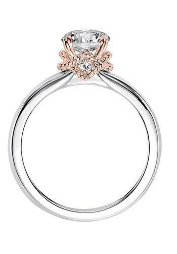 Clarice, Modern classic two tone solitaire diamond engagement ring with rose gold rope collar with diamond accents.  Available in Platinum, 18K and 14K gold. Price listed below is for the setting only. Settings can be custom made to fit any size or shape center stone. Total weight of semi-mount 7/8 Ct. Matching band available - Style number V584ERW-L
