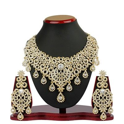 Buy VK Jewels Briliant Gold Plated Necklace with Earrings Online- Shopclues.com