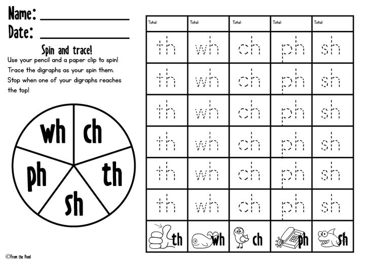 FREE Spin and Trace Digraph Worksheet | Digraphs : ch, sh, th, ph, wh ...