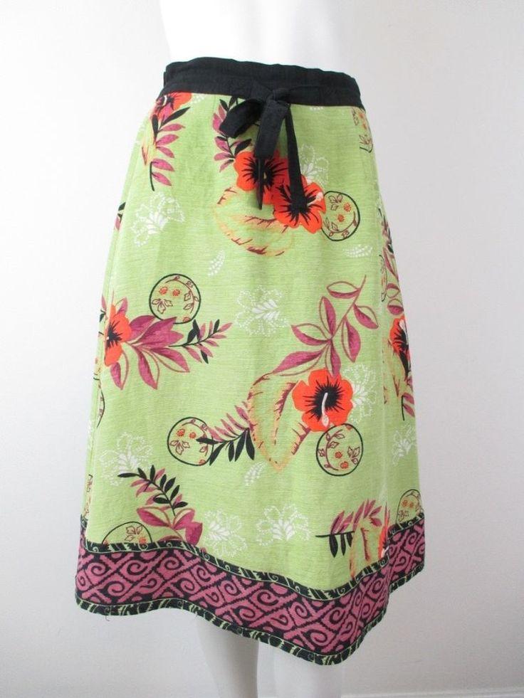 Soft Surroundings Green Silk Linen Tropical Hawaiian Floral Artsy Skirt SMALL S #SoftSurroundings #ALine