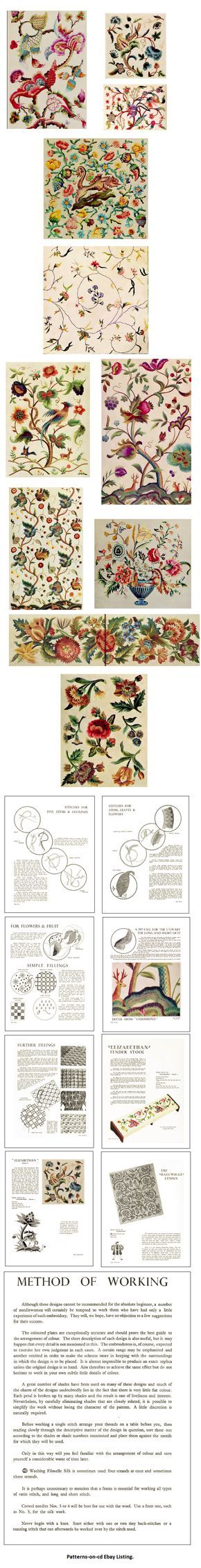 Jacobean Hand Embroidery Designs for Floss Thread Embroidery How to Manual on CD | eBay