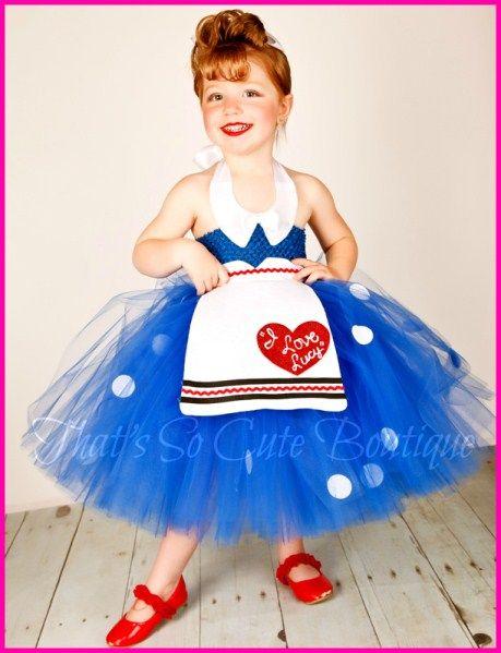 I Love Lucy Tutu Dress-lucy, tutu dress, i love lucy, lucille ball, retro tutu dress, pin up, red and blue tutu dress