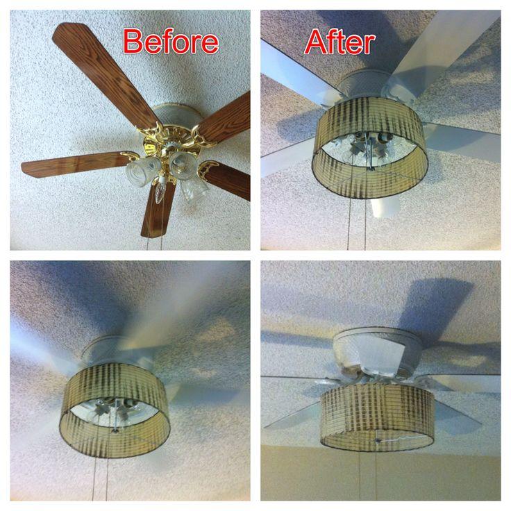 Diy Ceiling Fan : Diy ceiling fan update with barrel shade removed blades