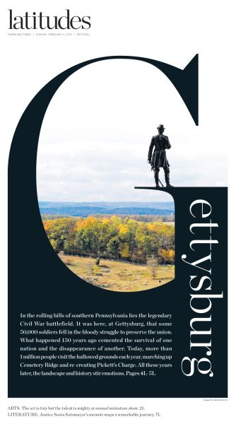 Latitudes Gettysburg cover | visual communication. graphic design. typography. opening spread. publication design. publications. editorial design. cover design. drop caps.