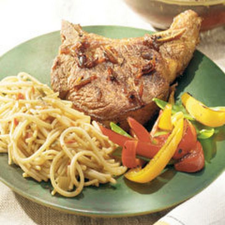 Asian Pork Chops With Thai Sesame Noodles Recipe Main Dishes with Lipton® Recipe Secrets® Onion Soup Mix, soy sauce, honey, lime juice, ground ginger, pork chops, 1 inch thick, knorr asian side   thai sesam noodl