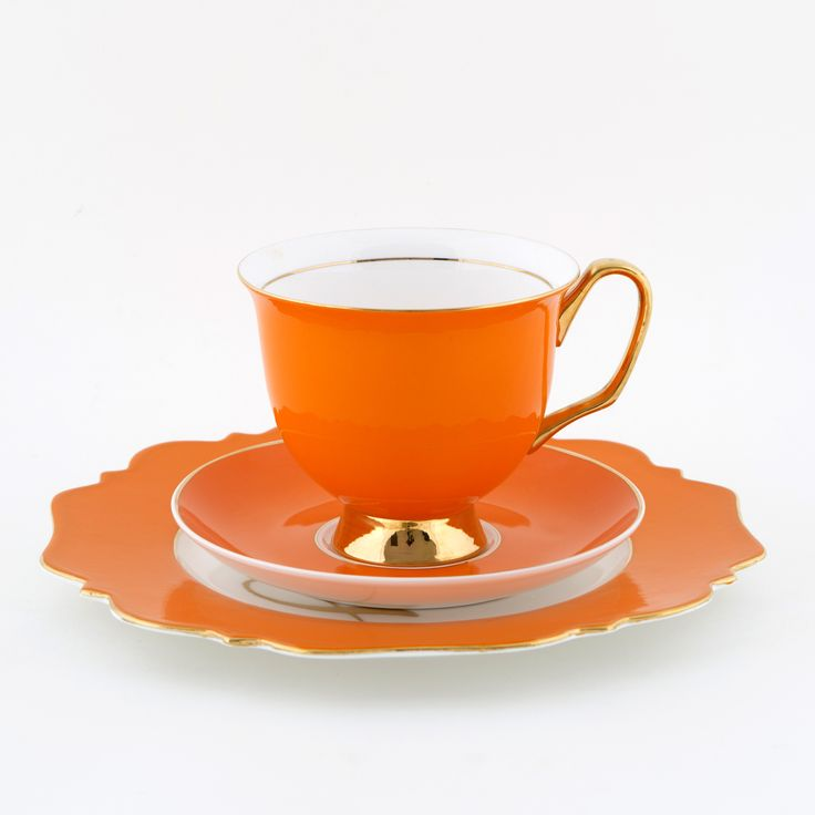 #Orange #375mL #XL #Teacup and #Saucer #Set with #Happy #Sideplate | The #bigger teacup you have always wanted! Get yours today at lyndalt.com