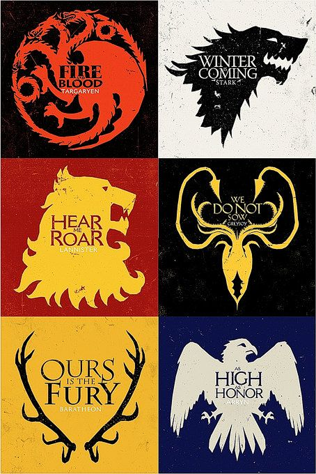 Set of 6 Game of Thrones House Sigil magnets. $9.95, via Etsy.