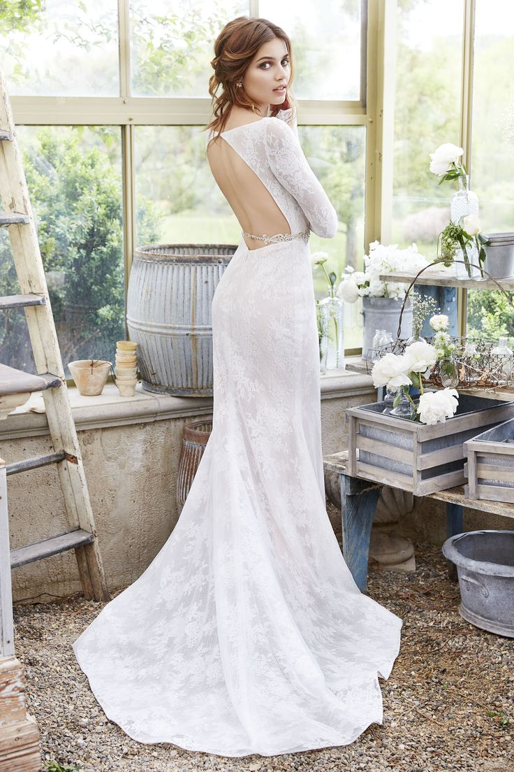 Style 2653 Ivory Chantilly Lace And Mesh Sheath Bridal Gown Cashmere Underlay Bateau Neckline Deep Sweetheart Bodice With Belt At Natural Waist