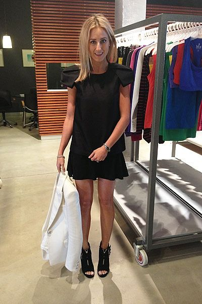 """""""Going through product for the upcoming Ashley Hart for Mix Apparel event, wearing Stella McCartney top, Isabel Marant skirt, Tabitha Simmons shoes, Balmain blazer and Chanel White Gold and Diamond Premiere Timepiece."""""""