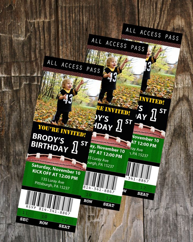 Football Ticket Birthday Invitation- Printable