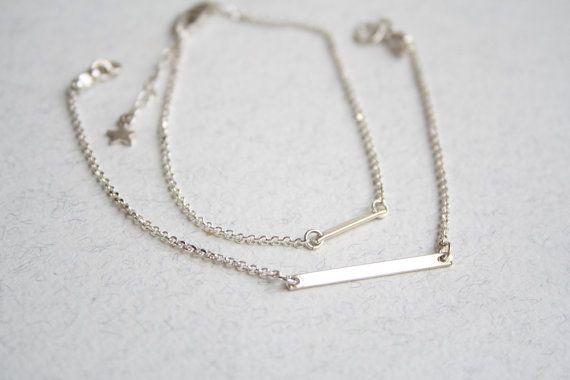 Sterling silver bar bracelet skinny bar bracelet by SharonTasker