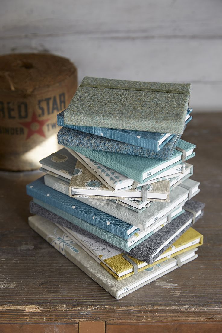 Fabric and Harris Tweed covered Notebooks in various sizes  A5, A6 and a custom size of 5 x 7 Inches.  All Notebooks come with inspiring quotes selected by Vanessa.   Approx 100 pages in each book.