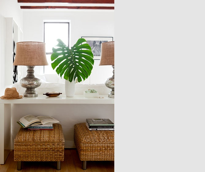 Parsons Table Ikea : White Parsons console table with PB lamps and IKEA footstools: http ...