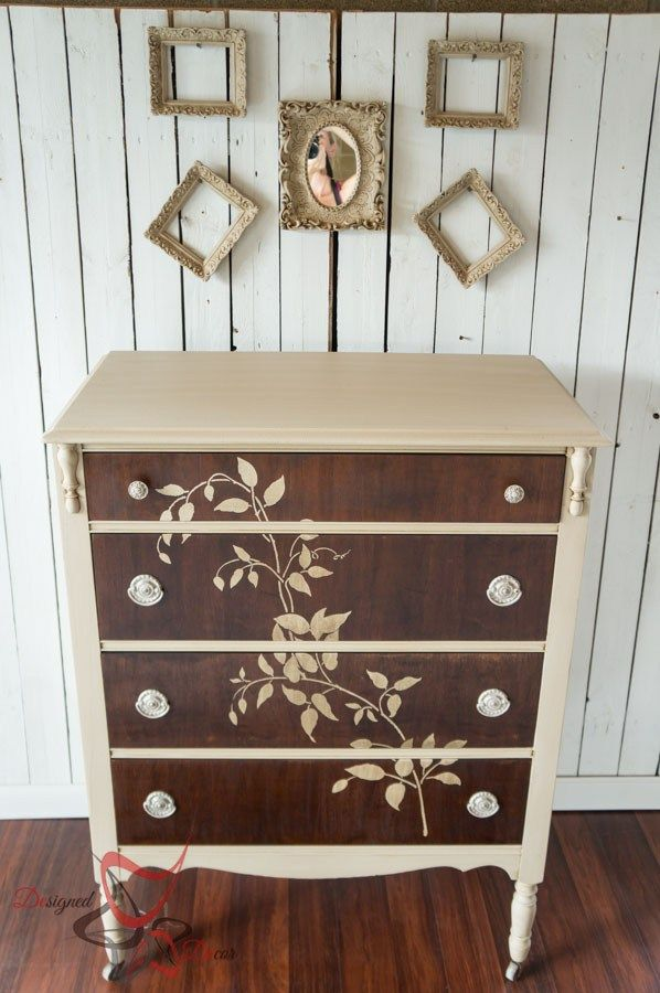 How to Stencil on wood - Dresser-Maison Blanche-Vintage-Furniture-Paint-repainted-furniture-www.designeddecor.com