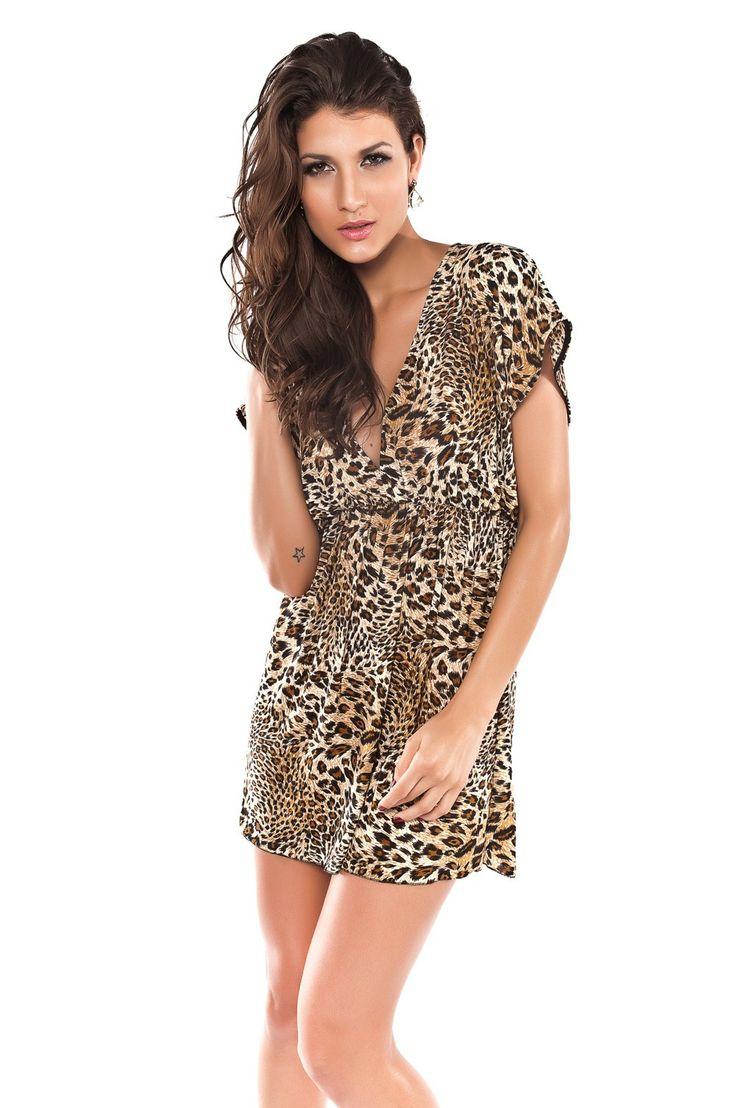 Hot Sexy Acrylic and Spandex Bikini Cover Up Fashion Leopard Beach Deep-V Shirt Dress