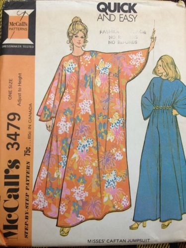 Vintage 1970's McCall's 3479 Misses' Caftan Jumpsuit Pattern // One Size FF NOS