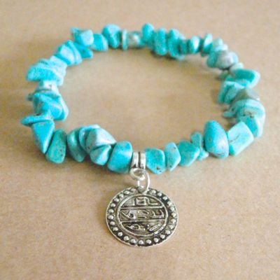 Delia turquoise & silver turkish coin bracelet