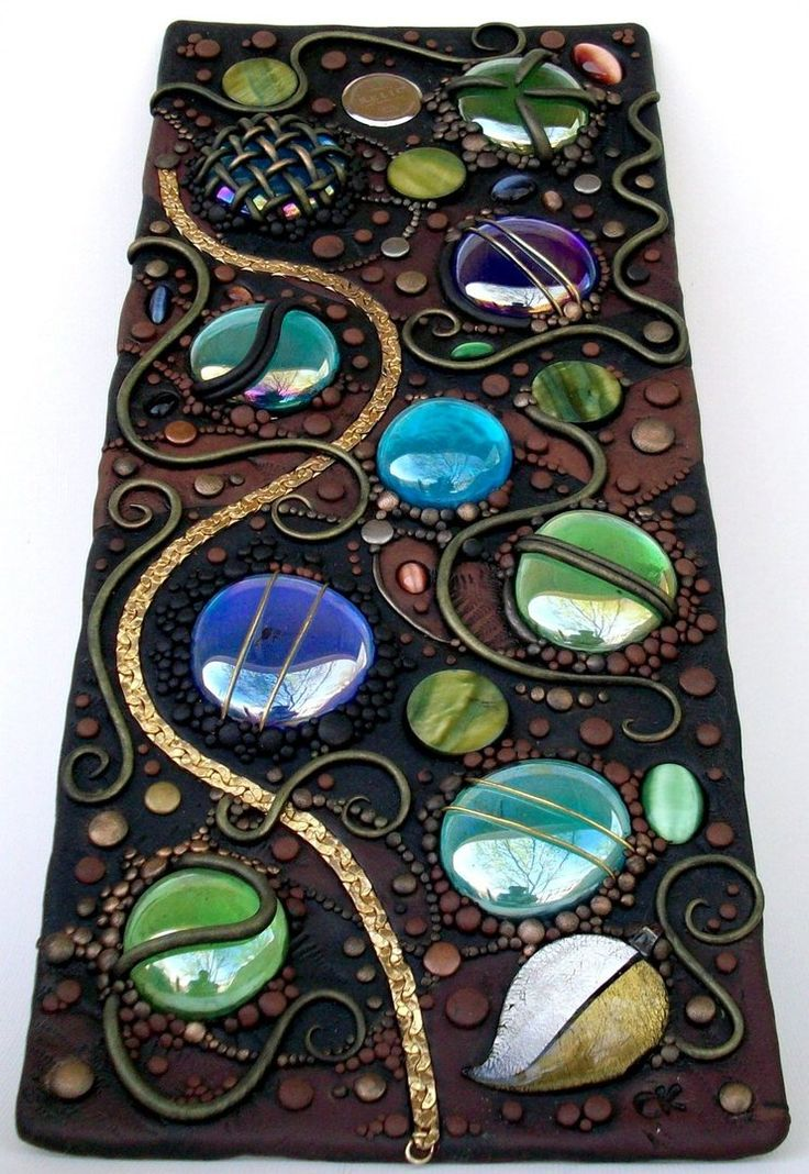 Crystal clear acrylic tile covered with polymer clay & decorated with glass